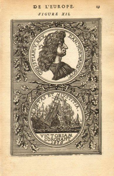 Associate Product KING CHRISTIAN V OF DENMARK & NORWAY. Pietas et Iustitia. MALLET 1683 print