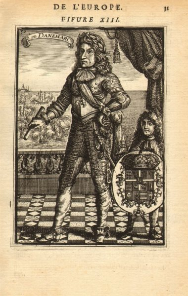 Associate Product KING CHRISTIAN V OF DENMARK & NORWAY. Wearing armour. Coat of arms. MALLET 1683