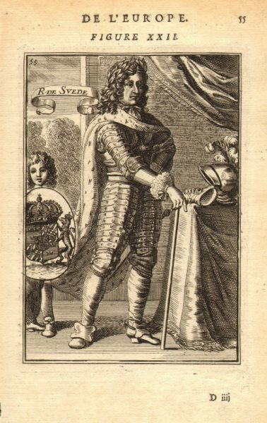 Associate Product KING CHARLES (KARL) XI OF SWEDEN. Wearing armour. Coats of arms. MALLET 1683