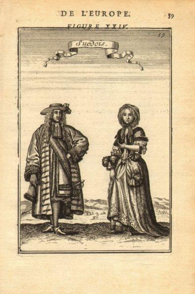 SWEDEN COSTUME. Swedish man & woman wearing 17C dress. 'Suedois'. MALLET 1683