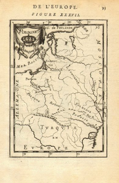 Associate Product POLISH-LITHUANIAN COMMONWEALTH. Poland Belarus &c 'Pologne'. MALLET 1683 map