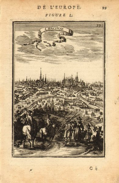 Associate Product KRAKÓW. Decorative city view of Cracovie (Krakow) Poland. MALLET 1683 print