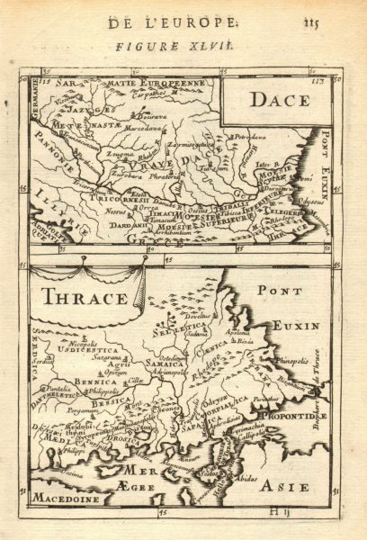 Associate Product THRACE & DACIA. European Turkey Romania Bulgaria Danube. 'Dace'. MALLET 1683 map