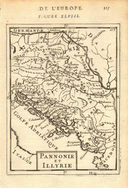 Associate Product BALKANS. Pannonie/Pannonia Illyria. Croatia Bosnia Serbia. MALLET 1683 old map
