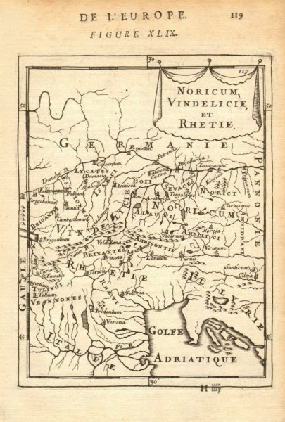 AUSTRIA BAYERN SLOVENIA. Roman Provinces Noricum Vindelicia Raetia 1683 map