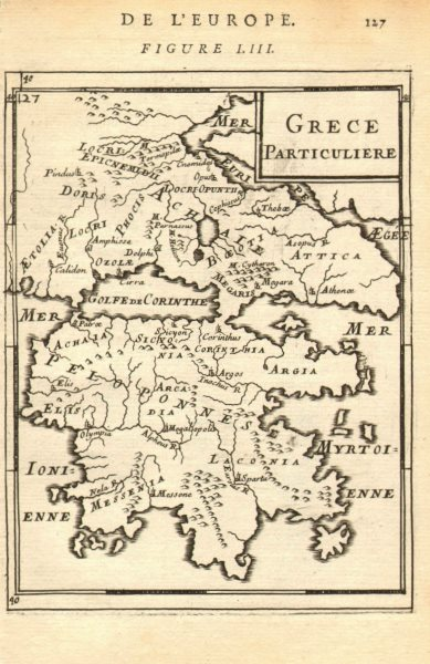 Associate Product SOUTHERN GREECE Peloponnese Attica Thessaly. Grece Particuliere. MALLET 1683 map