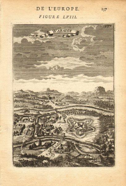 ROMANIA. Decorative view of the town of Waradin (Oradea/Nagyvárad). MALLET 1683