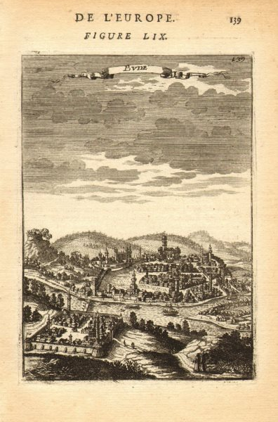 Associate Product BUDAPEST. View of the city of Buda, Hungary. Minarets. 'Bude'. MALLET 1683