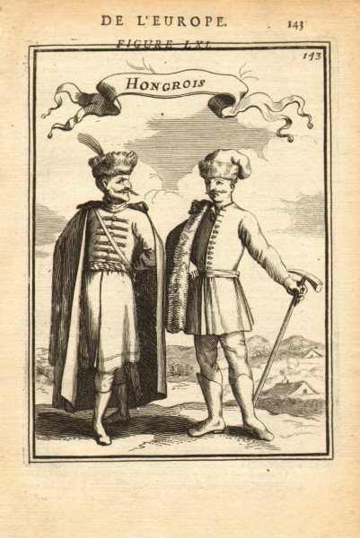 Associate Product HUNGARY COSTUME. Hungarians in 17C dress. 'Hongrois'. MALLET 1683 old print