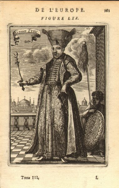 MEHMED IV. Ottoman Sultan. With sword sceptre & shield. Turkey. MALLET 1683