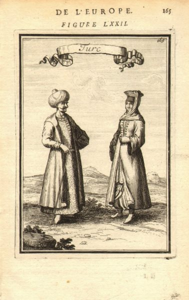 Associate Product TURKEY COSTUME. Ottoman Turkish man & woman in 17C dress. 'Turc'. MALLET 1683