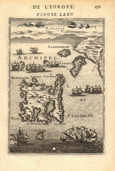 Associate Product NORTH AEGEAN. Lemnos Samothraci Imbros/Gokceada Dardanelles. MALLET 1683 map