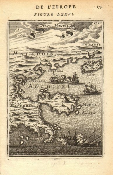 Associate Product NORTH AEGEAN Tasso (Thasos). Macedonia Thrace coast. Montesanto. MALLET 1683 map
