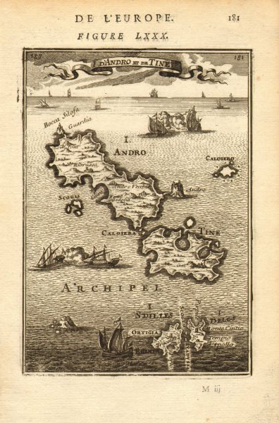 Associate Product CYCLADES. Andros Tinos Dilos & Rhinia. Greece islands. Aegean. MALLET 1683 map