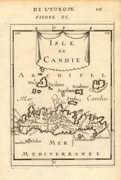 CANDIA/CRETE CYCLADES Milos Santorini Astypalaia Anafi Sikinos. MALLET 1683 map