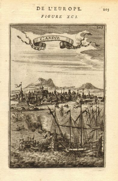 Associate Product CANDIA (CRETE). View of Chania. Many churches converted to mosques. MALLET 1683