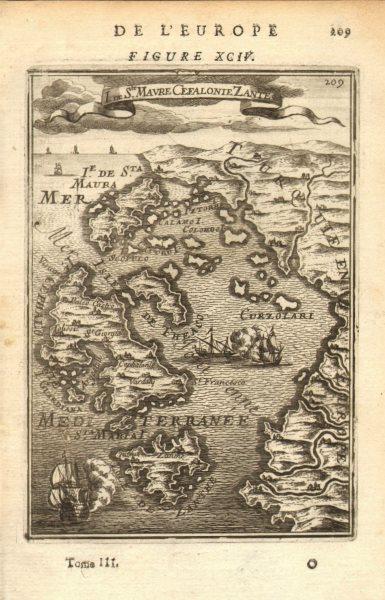 Associate Product IONIAN ISLANDS. Ithaca Lefkada Zakynthos Kefalonia. Greece. MALLET 1683 map