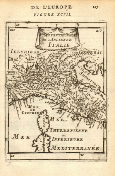 Associate Product ANCIENT ITALY NORTH. Gallia Cisalpina. Ancienne Italie Septent. MALLET 1683 map