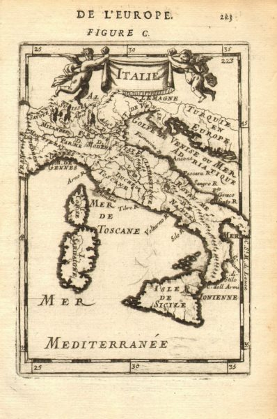 Associate Product ITALY. Italian states. 'Italie'. Decorative. MALLET 1683 old antique map chart