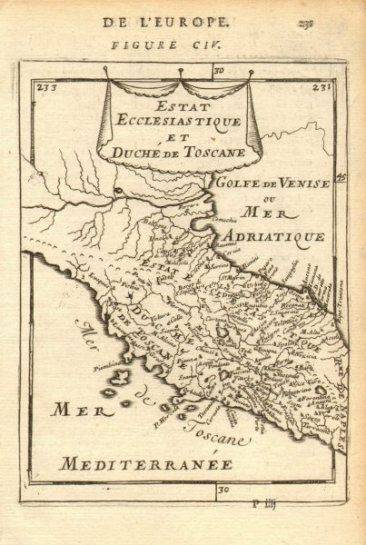 Associate Product CENTRAL ITALY. Duchy of Tuscany & Papal/Ecclesiastical States. MALLET 1683 map