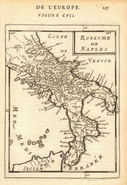 Associate Product KINGDOM OF NAPLES. 'Royaume de Naples. Southern Italy. MALLET 1683 old map
