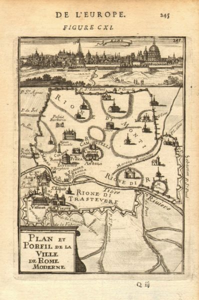 Associate Product ROME. City plan showing churches Colosseum Vatican St Peter's. MALLET 1683 map