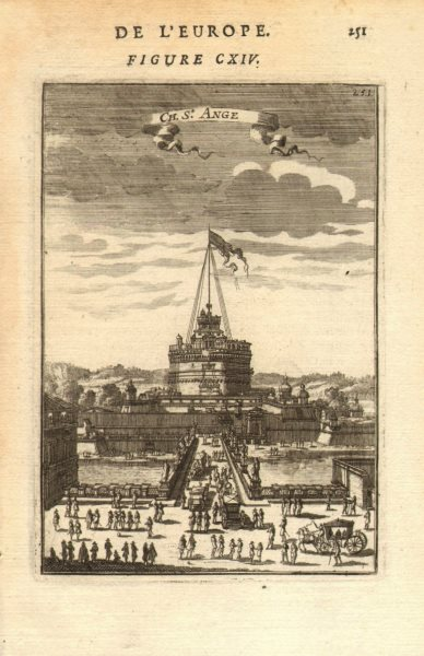 Associate Product ROME. Castel Sant'Angelo. Decorative view. Carriages. MALLET 1683 old print
