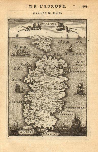 Associate Product SARDINIA. Sardegna. Decorative. 'Sardaigne'. Corsica on horizon. MALLET 1683 map