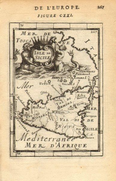 Associate Product SICILY. Sicilia. Decorative map. 'Isle de Sicile'. Italy. MALLET 1683 old