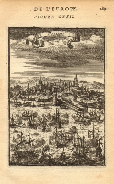 Associate Product PALERMO. Decorative view of the port & town. Sicily. 'Palerme'. MALLET 1683