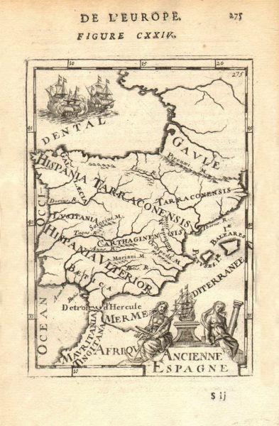 Associate Product ANCIENT IBERIA. Roman provinces. Hispania Lusitania Spain Portugal 1683 map