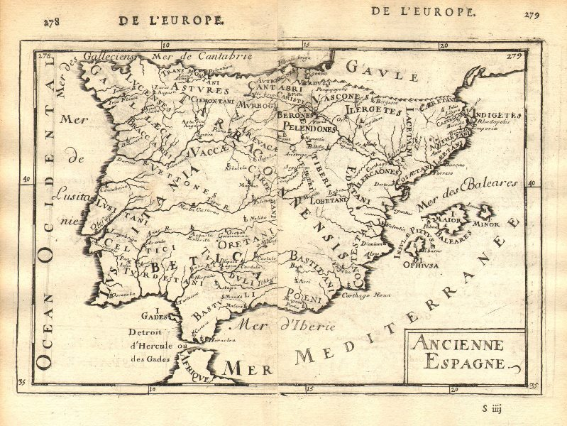 Associate Product ROMAN IBERIA 'Ancienne Espagne' Towns Hispania Lusitania Spain. MALLET 1683 map