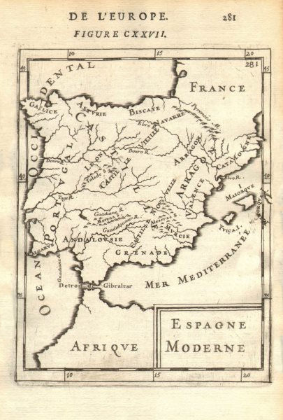 Associate Product IBERIA. Spain & Portugal showing regions. 'Espagne Moderne'. MALLET 1683 map