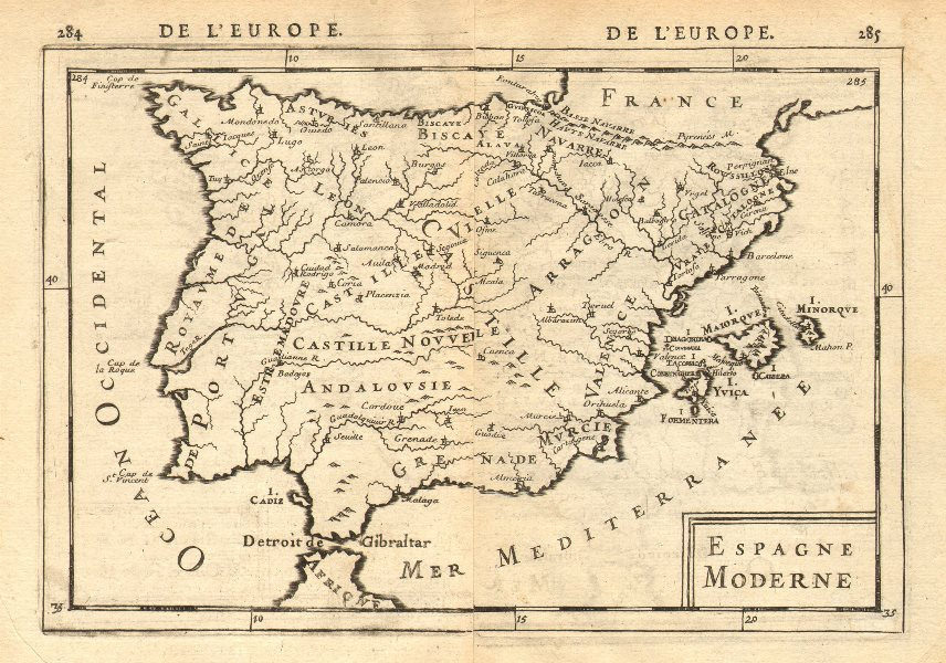 Associate Product IBERIA. 'Espagne Moderne'. Spain & Portugal. Regions & towns. MALLET 1683 map