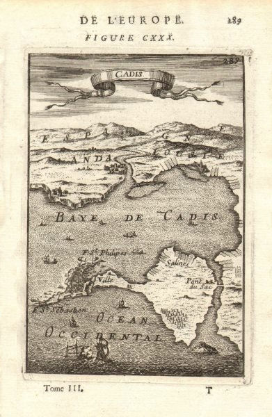 Associate Product CADIZ. Map of the town & port of Cádiz, Andalusia. Spain. MALLET 1683 old