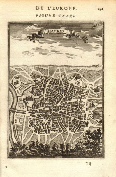 Associate Product MADRID. Decorative plan of the city. Churches. Spain. MALLET 1683 old map