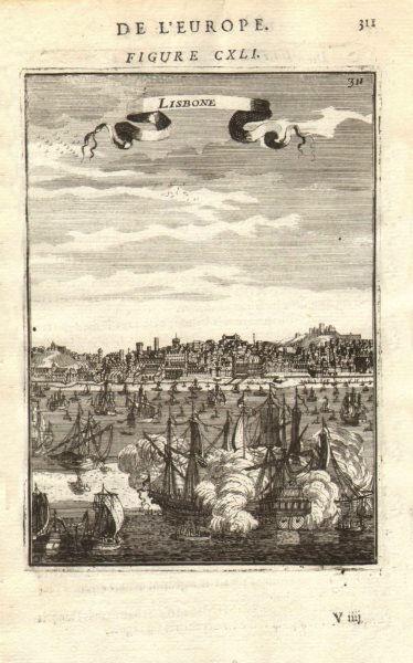LISBOA (LISBON). Decorative view of the city Lisbon. boats & ships. MALLET 1683