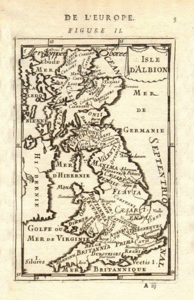 Associate Product ROMAN BRITAIN. Names of Tribes & Roman towns. 'Isle d'Albion'. MALLET 1683 map