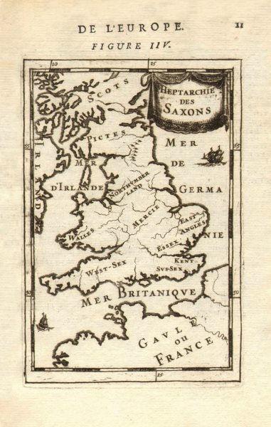 Associate Product ANCIENT BRITAIN. Anglo-Saxon Kingdoms. 'Heptarchie des Saxons'. MALLET 1683 map