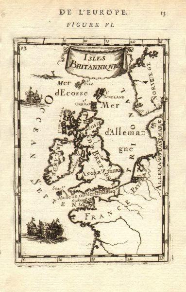 BRITISH ISLES. 'Isles Britanniques. Decorative. MALLET 1683 old antique map