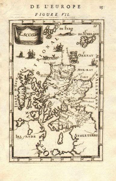 Associate Product SCOTLAND. Showing rivers. Decorative. 'Escosse'. MALLET 1683 old antique map
