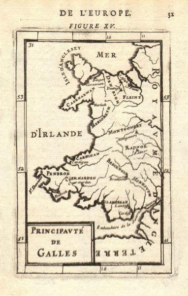 Associate Product WALES. Showing counties. Decorative. 'Principaute de Galles'. MALLET 1683 map