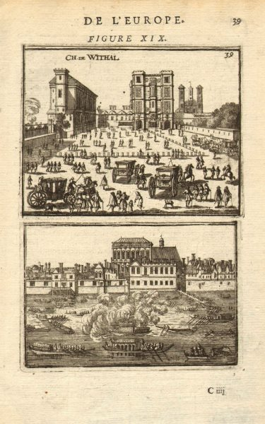 Associate Product LONDON. 2 views of the Palace of Whitehall. 'Chateau de Withal'. MALLET 1683