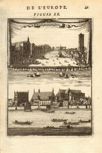 Associate Product LONDON. 2 views of Westminster. Hall, Abbey, River & boats. MALLET 1683 print