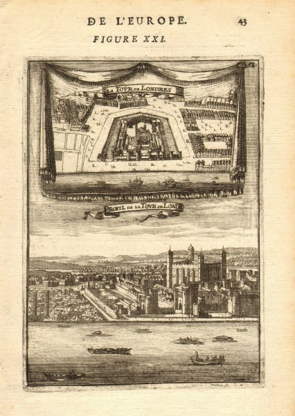 Associate Product TOWER OF LONDON. 2 Views. River. 'La Tour de Londres' Decorative. MALLET 1683