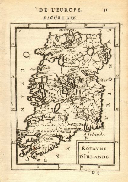 Associate Product KINGDOM OF IRELAND. Showing counties/towns. 'Royaume d'Irlande'. MALLET 1683 map