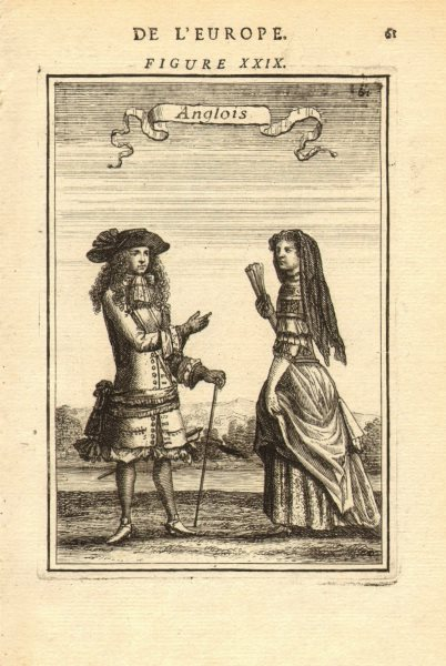 Associate Product ENGLISH COSTUME. Man & woman in 17th century dress. 'Anglois. MALLET 1683