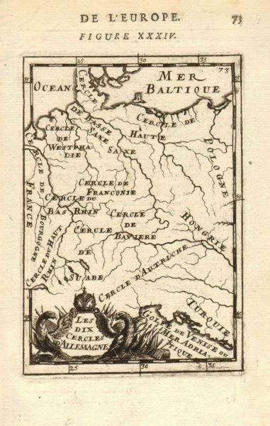 Associate Product GERMANY. Showing regions. 'Les dix cercles d'Allemagne'. MALLET 1683 old map