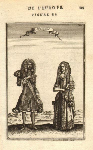 Associate Product GERMANY COSTUME. Man & woman in 17th century dress. 'Allemans'. MALLET 1683