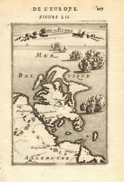 Associate Product RÜGEN. 'Isle de Rugen' & Pomeranian coast, Germany. Pommern. MALLET 1683 map